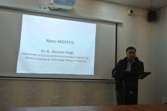 Dr N. Basanta delivering a lecture on nano MOSFETS