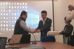 HoD of Mechanical Engineering department welcoming Prof. A.K.Das, Director, IIIT Manipur to deliver expert lecture on workshop