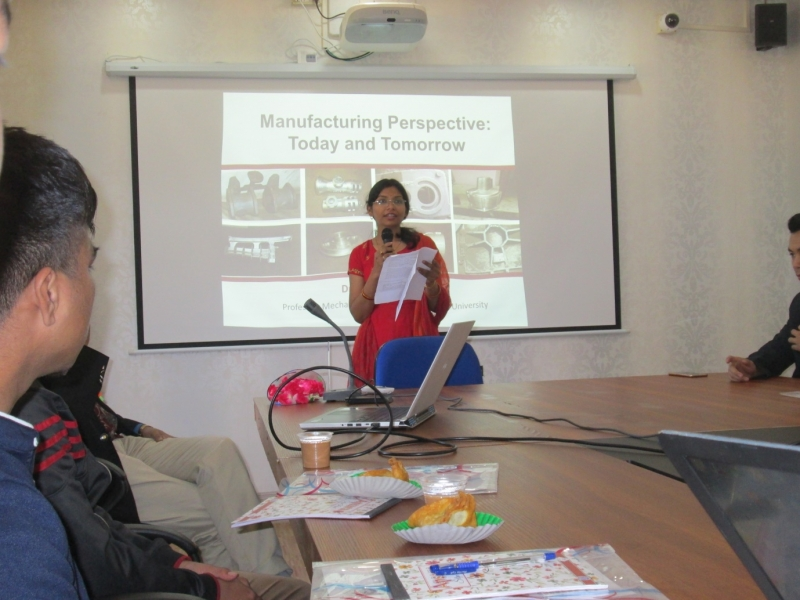 "Welcome speech by Dr. Prerana Nashine on (1st of March) first day of workshop on ""Advancement and Current trends of Mechanical Engineering """